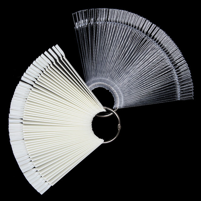 50Pcs False Nails Artificial Fake Finger Tip Natural Nails Fan Board Display Manicure Practice for Polish Gel Showing Tool