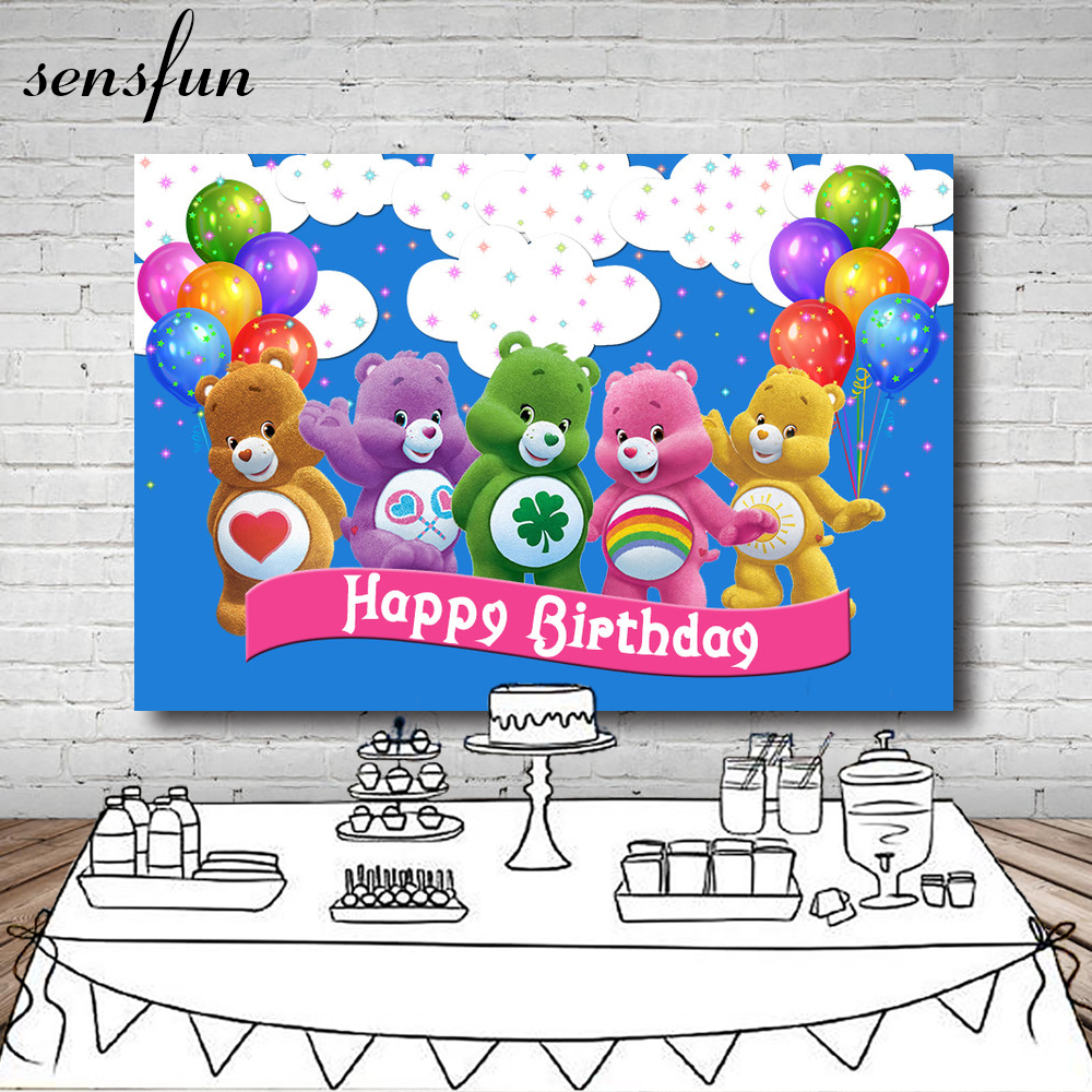 7x5FT Care Bears Backdrop Colorful Balloon Little Stars Cloud Blue Children Happy Birthday Backgrounds For Photo Studio Vinyl paper sun white cloud colour colorful photography backgrounds vinyl cloth computer printed birthday photo backdrop