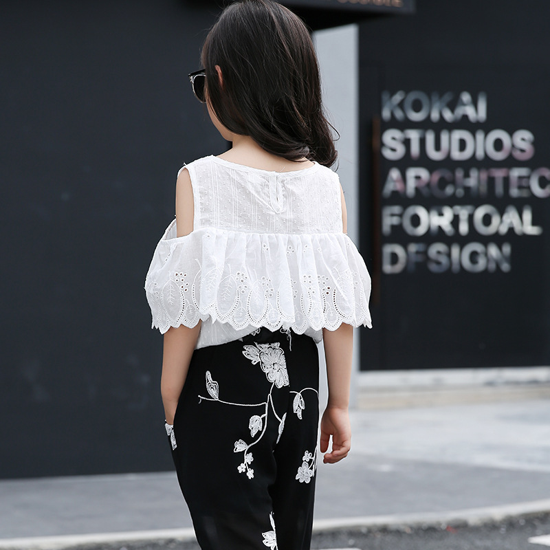 efd1c2965be9e Girl Clothing sets 2018 New Fashion White color Lace Leaking shoulder short  sleeved blouse +Black Floral pants Kids suit