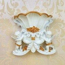 Europe Vintage Style White Vase Wall Hanging Decoration Angel Vase Wall Mounted Creative Hanging Vase Home Decor Resin Vase