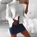 UZZDSS T Shirt Women 2017 Spring Autumn Split Knit T-shirt Long Sleeve Sexy Top Harajuku Tee Shirt Femme Casual Women T shirts