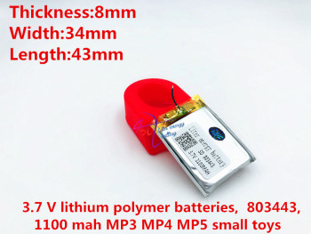 Liter energy battery 3.7 V lithium polymer batteries, 803443, 1100 mah MP3 MP4 MP5 small toys image