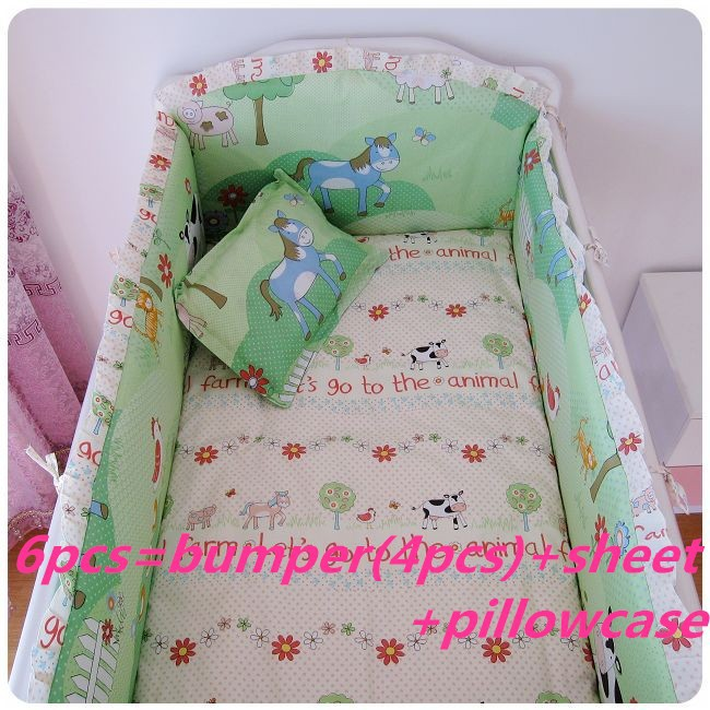 ФОТО Promotion! 6PCS cotton baby bedding bed around bed baby bed around ,include (bumpers+sheet+pillow cover)