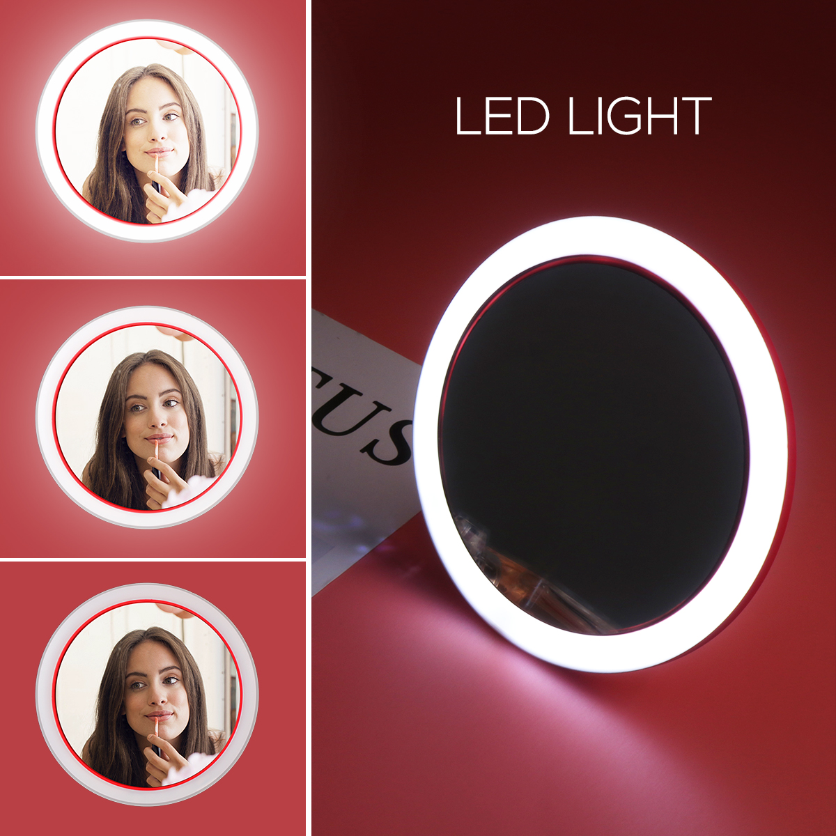 Image 4 - Espejo cosmético Circular LED portátil multifuncional con Base de carga inalámbrica USB herramientas de espejo de maquillaje para mujerEspejos para maquillaje   -