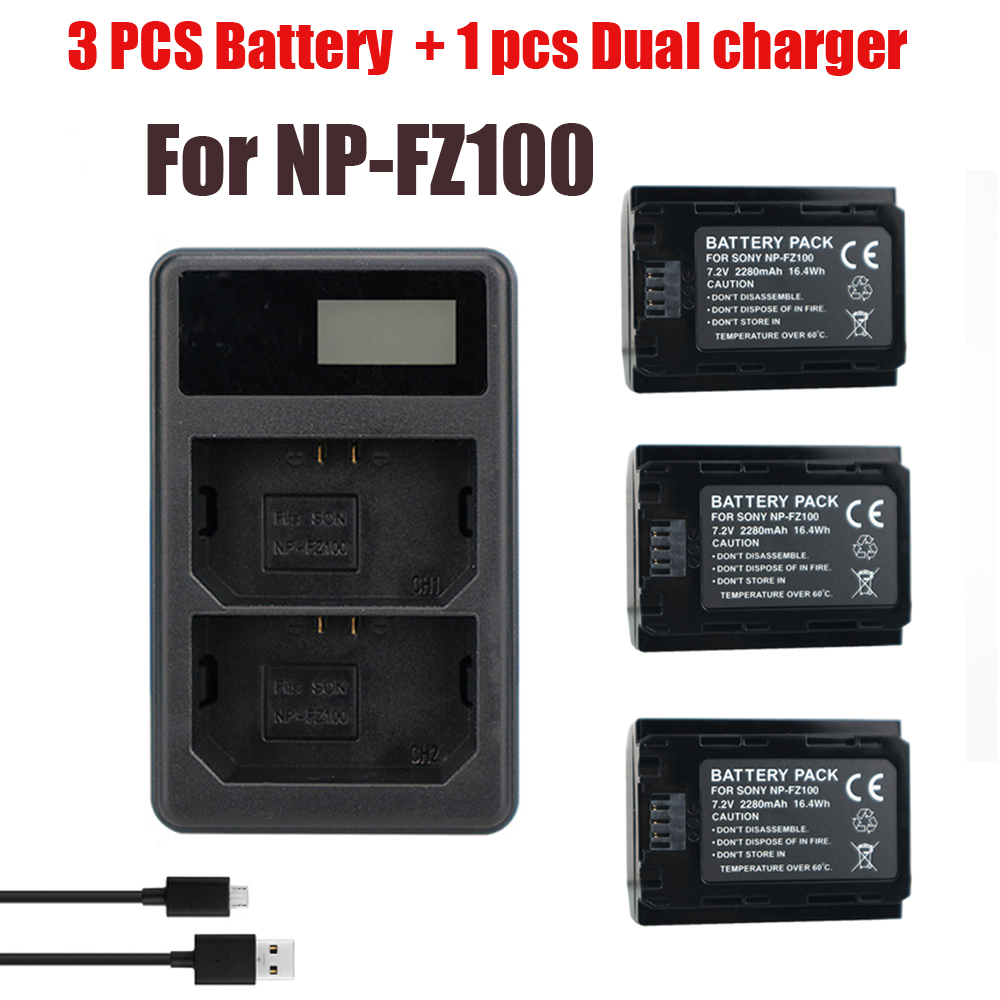 3Pcs NP-FZ100 NPFZ100 NP FZ100 Battery+LED Double Batteries Charger For Sony NP-FZ100, BC-QZ1, Sony A9, A7R III, A7 III, ILCE-9