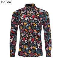 JeeToo New Spring Print Man Shirt Casual Long Sleeve Fashion Floral Printing Male Shirts Slim Fit