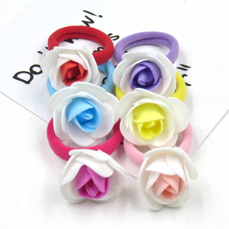 1PCS Pretty Rose Net yarn Flower Elastic Hair Bands Toys For Girls Handmade  Hair Tie Scrunchy Kids Hair Accessories For Women