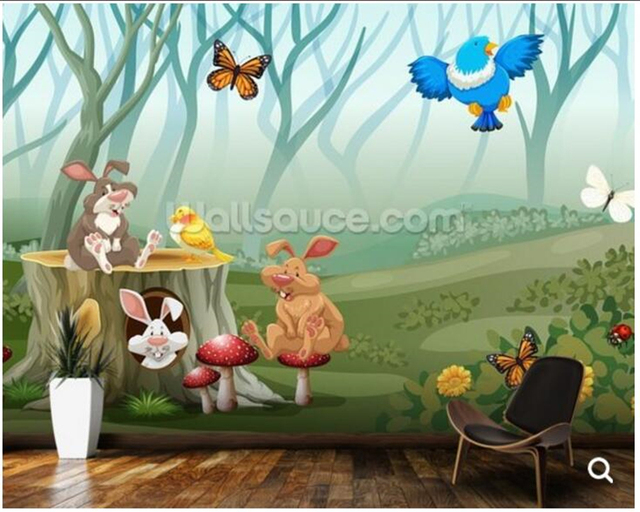 Custom kinderen behang konijnen en vogels living in het bos voor