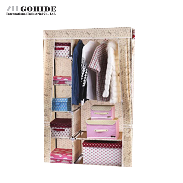 Gohide Large Double Storage Cabinet Wardrobe Simple Non-Woven Folding Combination Wardrobe Closet Bedroom Furniture