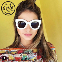 Sella Simple Oversized Cat Eye Women Sunglasses Fashion Butterfly Thick Frame Sun Glasses Brand Designed UV400