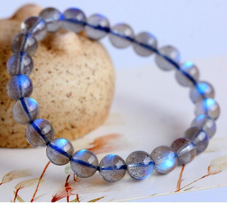 date de sortie c1066 967bf US $83.5 29% OFF 7mm Natural Labradorite Strong Blue Light Round Beads  Bracelet AAAAA-in Strand Bracelets from Jewelry & Accessories on  Aliexpress.com ...