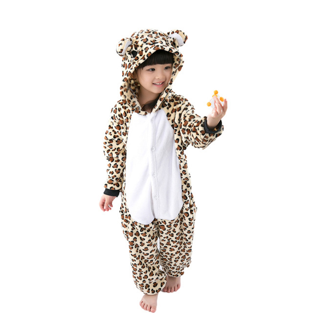 Boys Girls Flannel Animal Cartoon Pajama Onesie Baby Pajamas warm animal Kids leopard Children Sleepwear for 4 6 8 10 12 Years цена