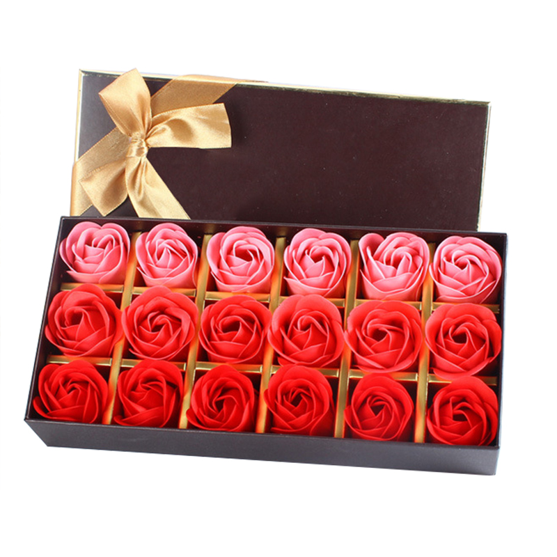 18Pcs Creative Gradient simulation rose Soap flower
