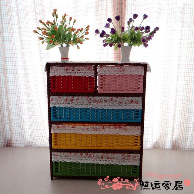 Shipping Straw Rattan Ikea Bedside Baby Toy Storage Cabinets Wardrobe  Lockers Chest Of Drawers Pastoral Underwear