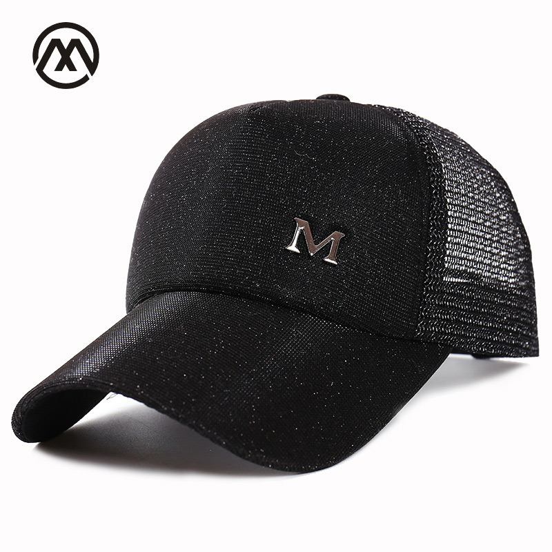 c997acff50d New letter M baseball net cap ladies truck driver hat summer adjustable  fashion ladies casual outdoor sequins hot eye-catching