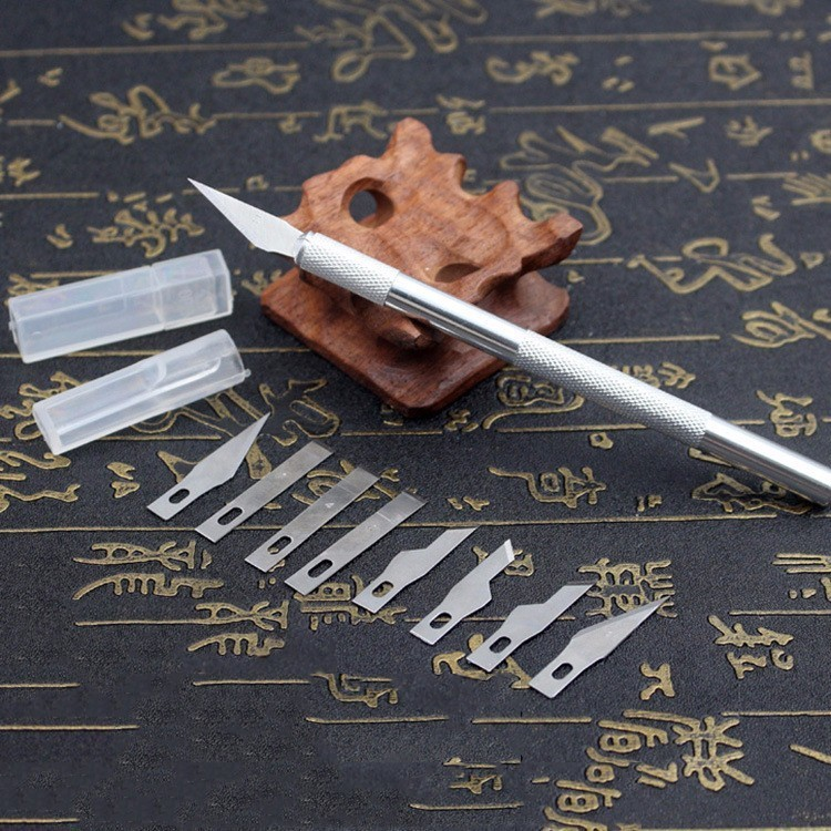 New Non-Slip Metal 9 Blades Wood Carving Tools Fruit Food Craft Sculpture Engraving Utility Knife For Stationery Art Supplies