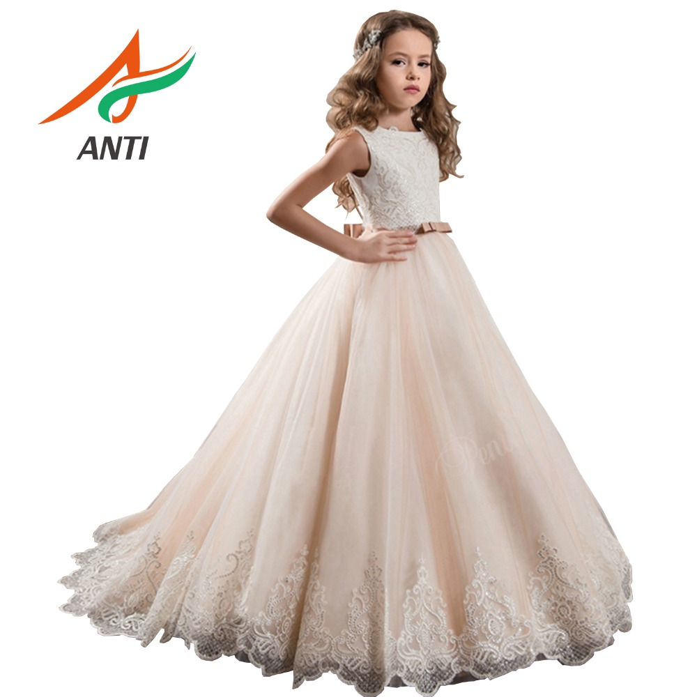 ANTI Princess Champagne Tulle   Flower     Girl     Dresses   2019 Bow Sashes Floor-Length   Girls   Pageant   Dress   First Communion   Dresses   TR005