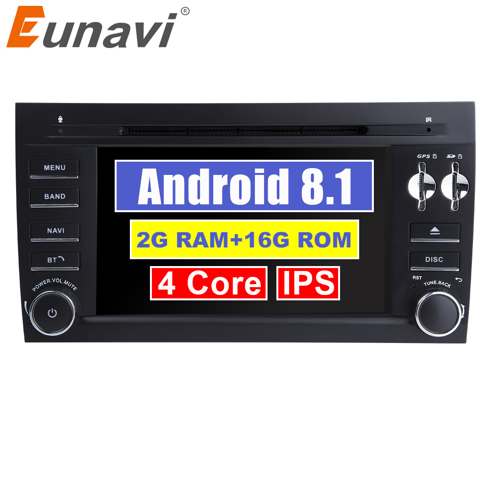 Eunavi 2Din Pure 7'' Android 8.1 Car multimedia DVD player GPS for Porsche Cayenne 2003 2004 2005 2006 2007 2008 2009 2010 Radio