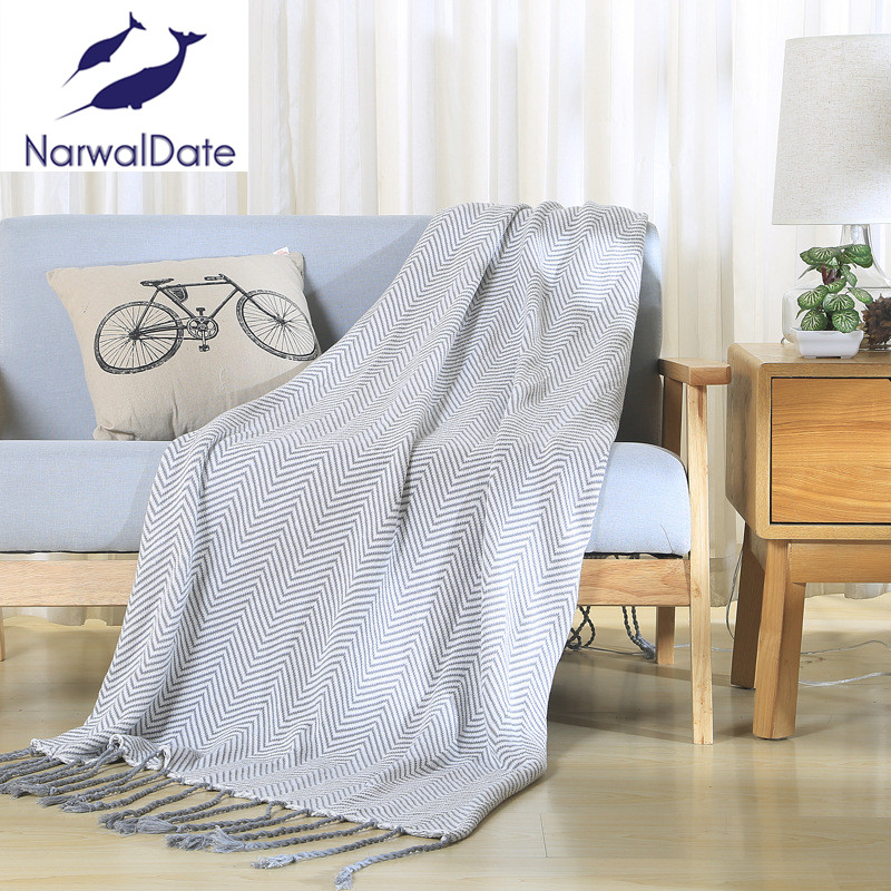 Weave Blankets Fringed Sofa Bed Cover Baby Soft Throw Cotton Rug Slipcover Weave Blanket 1pc Smart Home