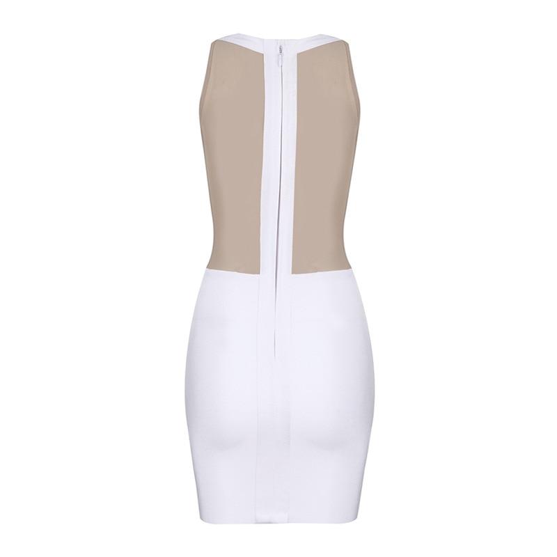 Nouveau Club De Style Robe Sans En Manches Licou Moulante Night Mini Patchwork Robes Mesh Mode Gros Femmes Sexy Bandage Party 01Xx4qw1O