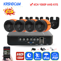 KRSHDCAM 4CH AHD DVR Security CCTV System 30M IR 4PCS 1080P CCTV Camera Outdoor Waterproof Camera