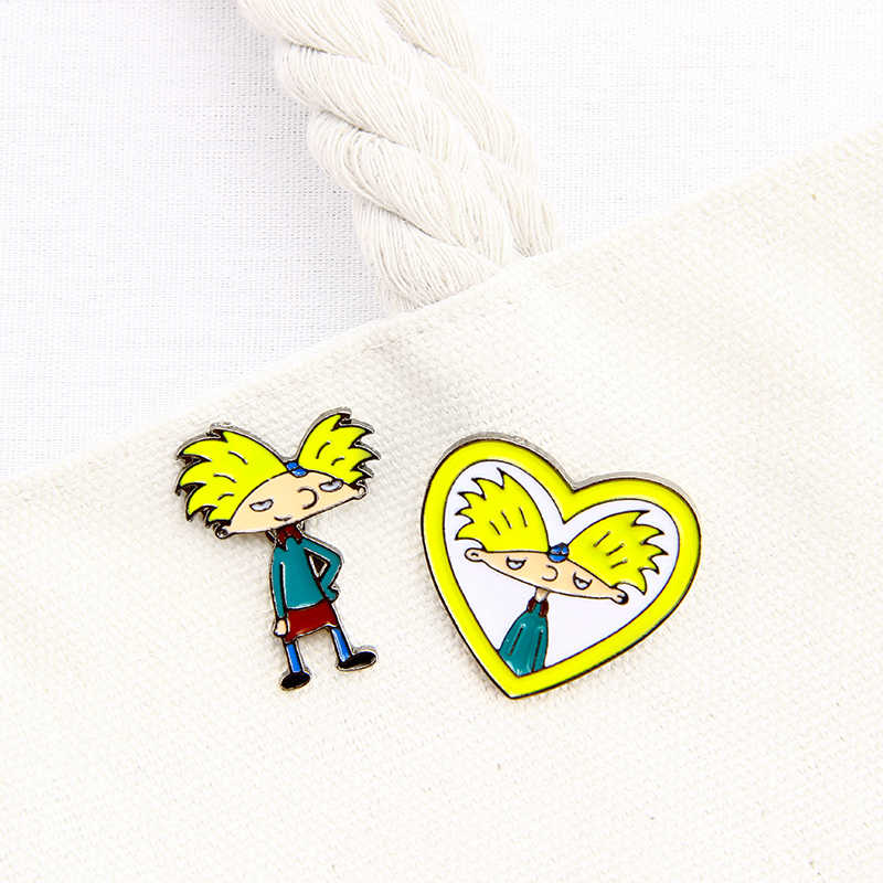 Hey Arnold Pins Cartoon TV Show Arnold Brooches Pins Enamel Pin Button T-shirt Dress Hat Bag Arnold Badge Jewelry Gift