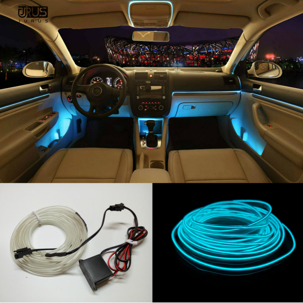 JURUS 5M 10 Colors Car Styling DIY EL Cold Line Flexible Interior Decoration Moulding Trim Strips Light For Motorcycle and Cars