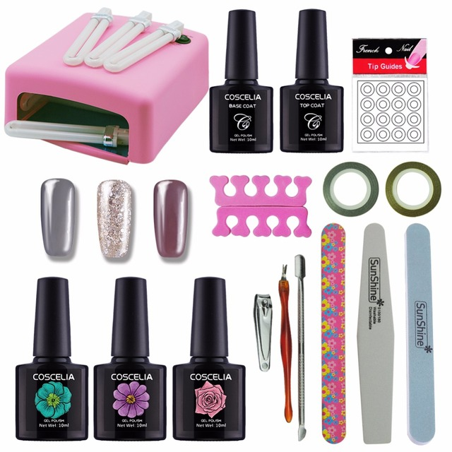 Manicure Set Nail Kit Nail Gel 36W Lamp For Nails 3 Colors 10ml Gel ...