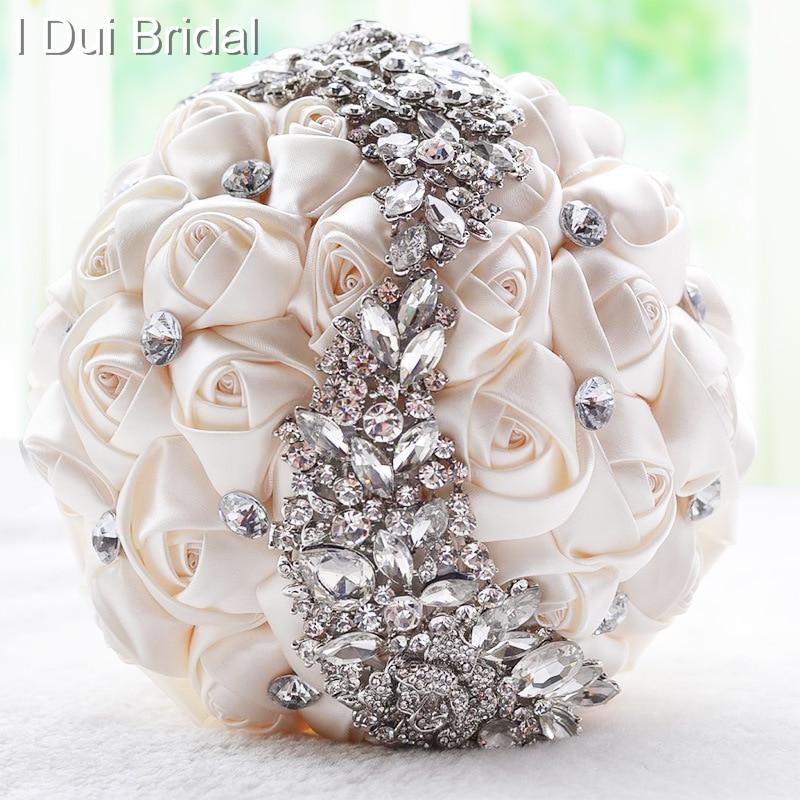 Fabric Rose Crystal Rhinestone Luxury Bridal Brooch Bouquet Wedding ...