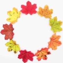 Artificial-Maple-Leaf Fall Leaves Garland Wedding-Garden-Decor Silk Autumn Green/yellow