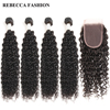 Rebecca Brazilian Curly Weave Hair 4 Bundles With Closure Remy Human Hair Bundles With 4x4 Lace