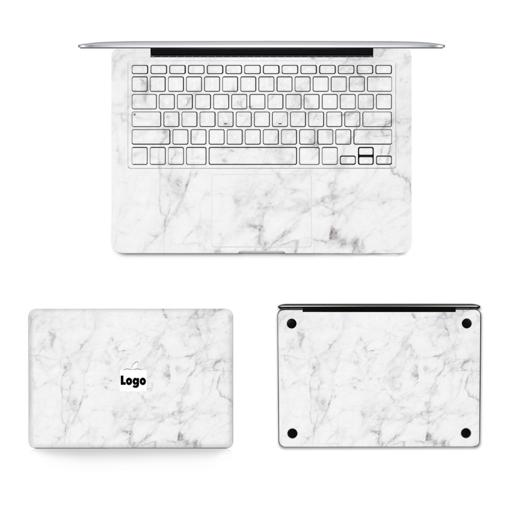 YCSTICKER - 4 in 1 Set Laptop Full Sticker Marble Skin Vinyl Decal for Macbook Air Pro Retina 11 12 13 15 Sticker & Screen Film