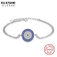 ELESHE 925 Sterling Silver Luxury Jewelry Women Bracelet Fashion Chain Bracelets Charm Micro Pave CZ Eyes Bracelet For Women