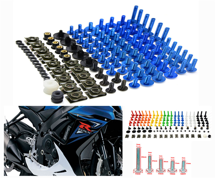 Universal 76 PCS/Set Motorcycle Fairing Bolts Spire Speed Fastener Clips Screw Spring Nuts For KTM 990 Super Duke R 125 Duke ABS new universal 76 pcs set screw bolts nuts for disc brake rotors mountain bike