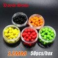 50 unids/caja olor cebo de Pesca Carpa Boilies Pop ups/5 Sabores 12mm granos de la bola Flotante alimentador Artificial Carpa cebos señuelo/plataforma de pelo