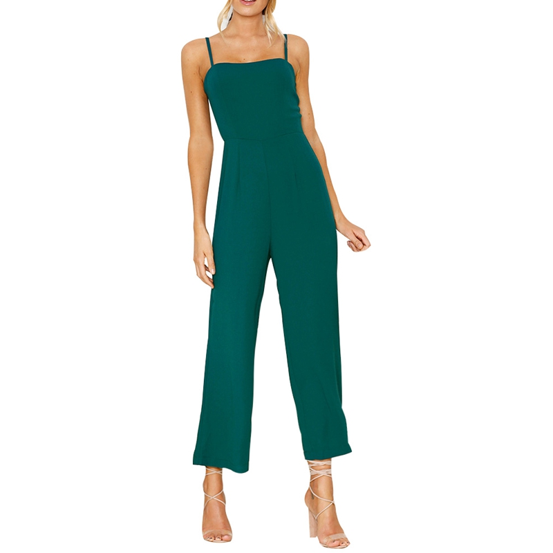 Fashion Ladies Jumpsuit Summer Women Sexy Sleeveless Casual Long Jumpsuits Girls Pure Color One Piece Rompers