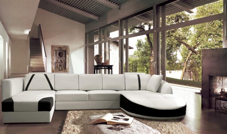 Ledersofa Mit Ecke Sofa Set Designs, Leder Ecksofas Für Kuh Ledersofa(China  (