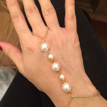 Retro Style Pearl Bracelet Gold Silver Link Chain Adjustable Lady Finger Bracelets for Women