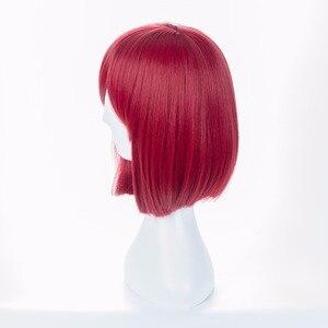 Image 3 - Danganronpa V3 Killing Harmony Yumeno Himiko Wine Bangs Bob Anime Cosplay Hair Wig 35cm + wig cap