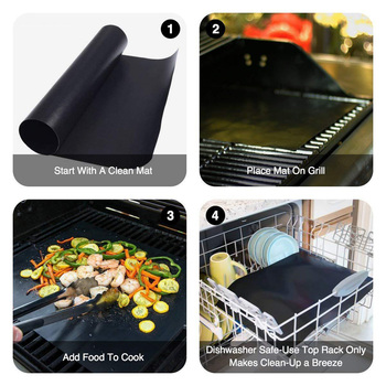 100% Non-stick BBQ Grill Mat Set of 3 - Heat Resistant, Reusable, Dishwasher Safe, Cleans Easily 40 * 33cm 4