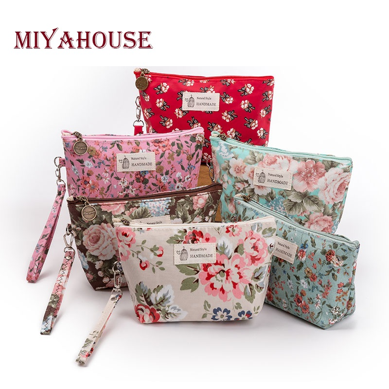 Miyahouse New Vintage Floral Printed Cosmetic Bag Women Makeup Bags Female Zipper Cosmetics Bag Portable Travel Make Up Pouch цена