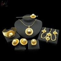Yulaili High Quality Ethiopia Big Jewelry Set Necklace Pendant Bracelet Earring Ring Headdress Hair Is Women