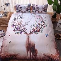 3D Reactive Printing Animal Duvet Cover Set Deer Duvet Cover Pillowcase Three Pieces Home Bedding Set Twin UKQueen USQueen #258