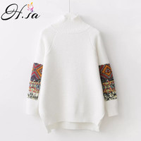 H.SA 2017 Women Vintage Turtleneck Sweater Jumpers Long Sleeve Solid Retro Pullover and Sweaters Irregular Split sueter mujer