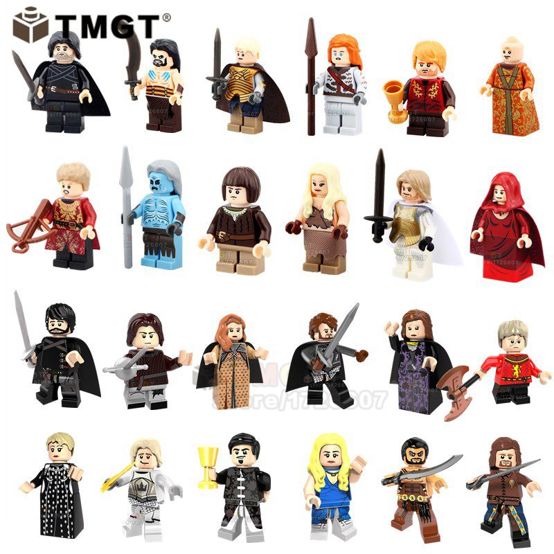 50pcs/lot Wholesale Game Of Thrones Jon Snow Khal Drogo Sansa Stark Rrya Stark Building Blocks Toy Gifts For Friend Children Blocks Model Building