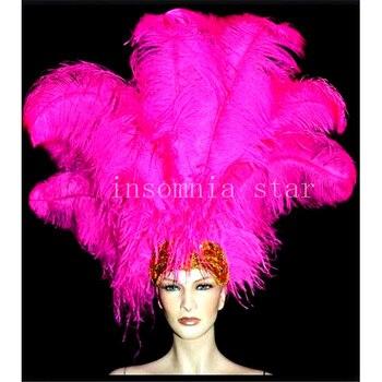 100 Uds poste 100% pluma de avestruz natural teñido Rosa 20-80 CM/8-32 pulgadas para máscara tocado Ropa Accesorios