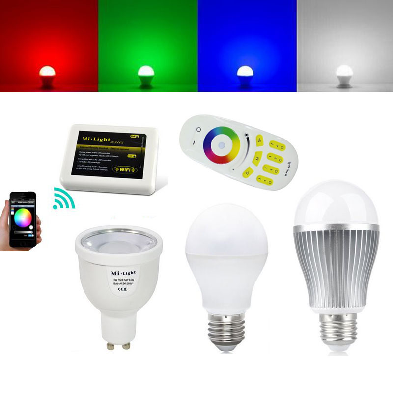 10pcs 2.4G Mi light led bulb RGB Warm white 4W 5W 6W 9W GU10 E27 E14 Wireless Dimmable+ 4 Zone Remote + WIFI Controller by DHL e cap aluminum 16v 22 2200uf electrolytic capacitors pack for diy project white 9 x 10 pcs