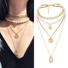 Choker Punk Collar Multi Layered Beautiful 1Set Exquesite Coin Crystal Pendant Necklace Golden Pearl Girls Statement Virgin Mary(China)