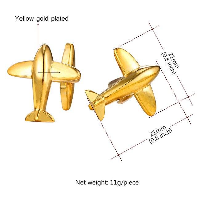 Golden Silver Airplane Aircraft Cufflink For Men