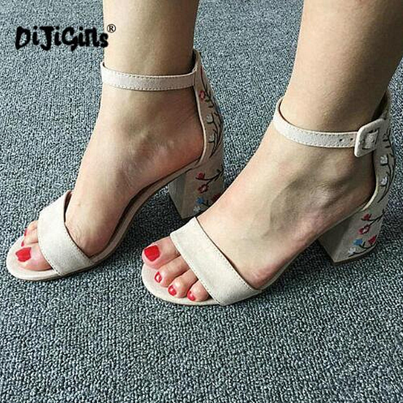 Suede Leather Shoes Woman Sandals Embroidery Floral High Heel Buckle Strap Ethnic Floral Sandalias Zapatos Mujer Wedding pumps lttl bohemia print floral chunky heel sandalias female blue red prom wedding shoes woman ankle strap sequins rhinestone sandals